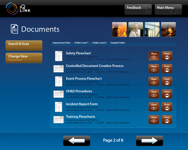 A screenshot of the IQ LINK Documents module