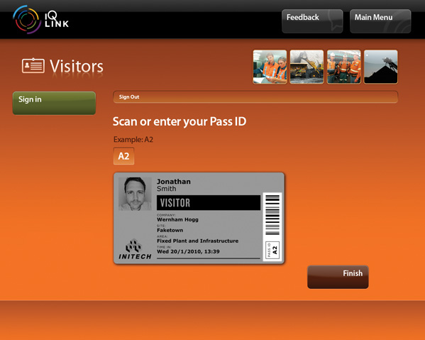 A screenshot of the IQ LINK Vistors module