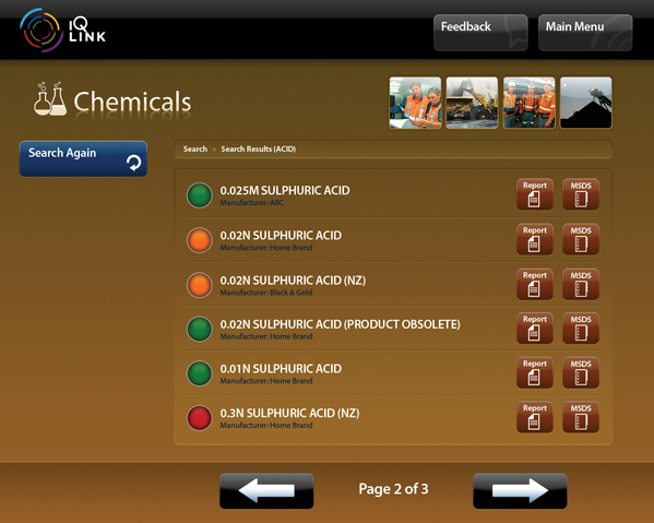 A screenshot of the IQ LINK Chemicals module